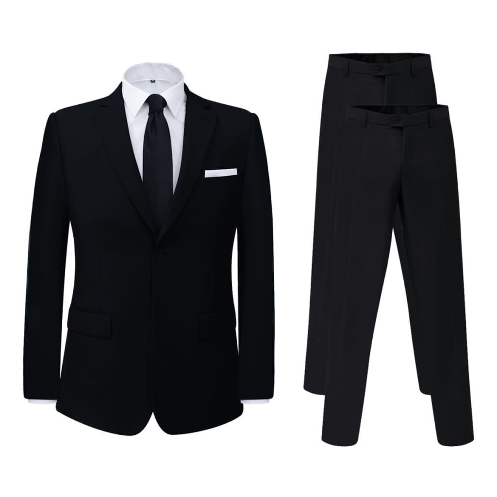 vidaXL 2 darab fekete 56-s méretű férfi öltönykabát extra nadrággal
