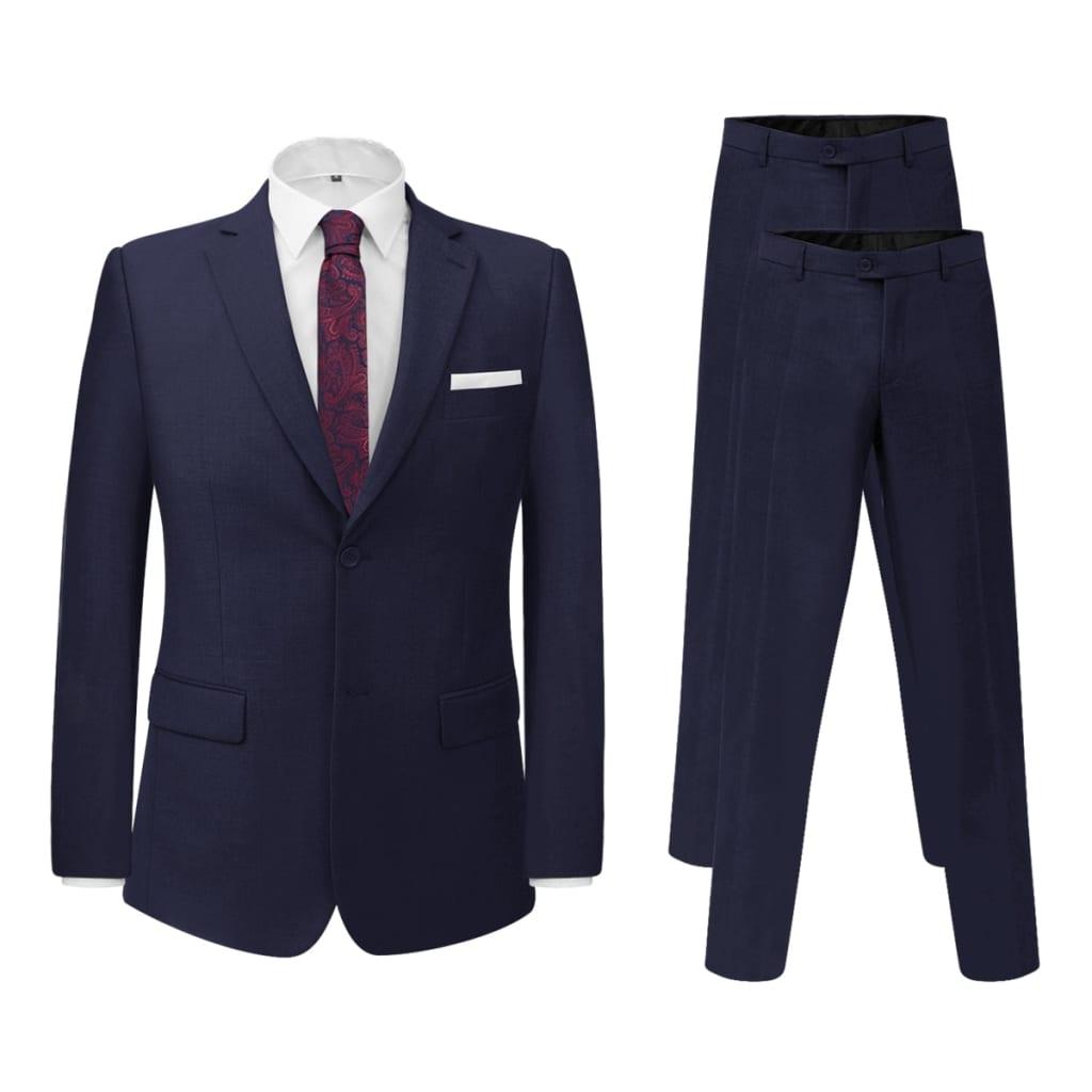 vidaXL Két darab 48-s méretű tenger kék öltöny extra nadrággal