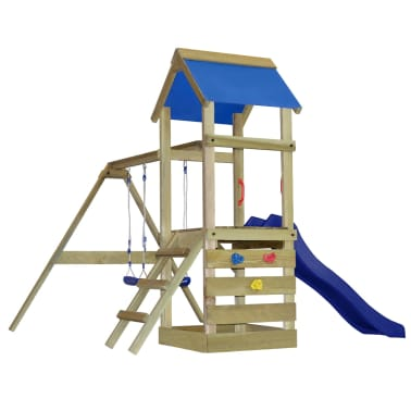 vidaXL Playhouse Set with Ladder, Slide and Swings 290x260x245 cm Wood[1/8]