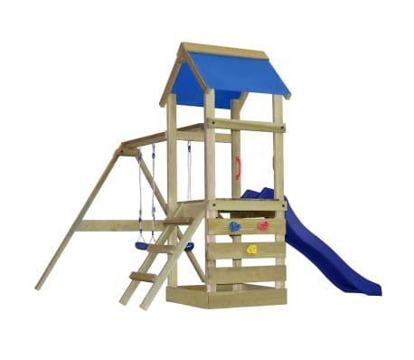 vidaXL Játszóház létrával, csúszdával és hintákkal 290x260x245 cm fa