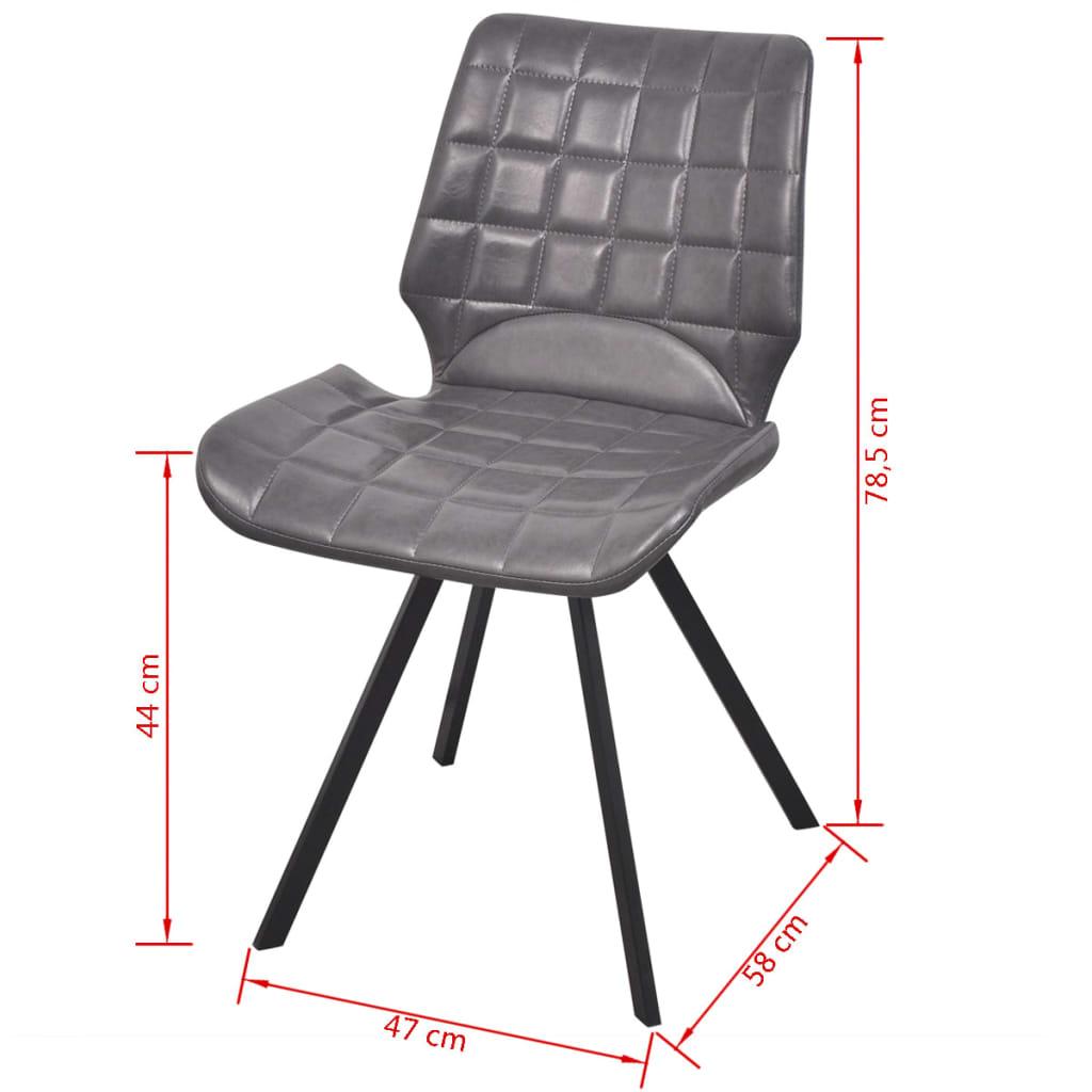 Vidaxl silla de comedor cuero sint tico 6 uds gris for Sillas de cuero para comedor