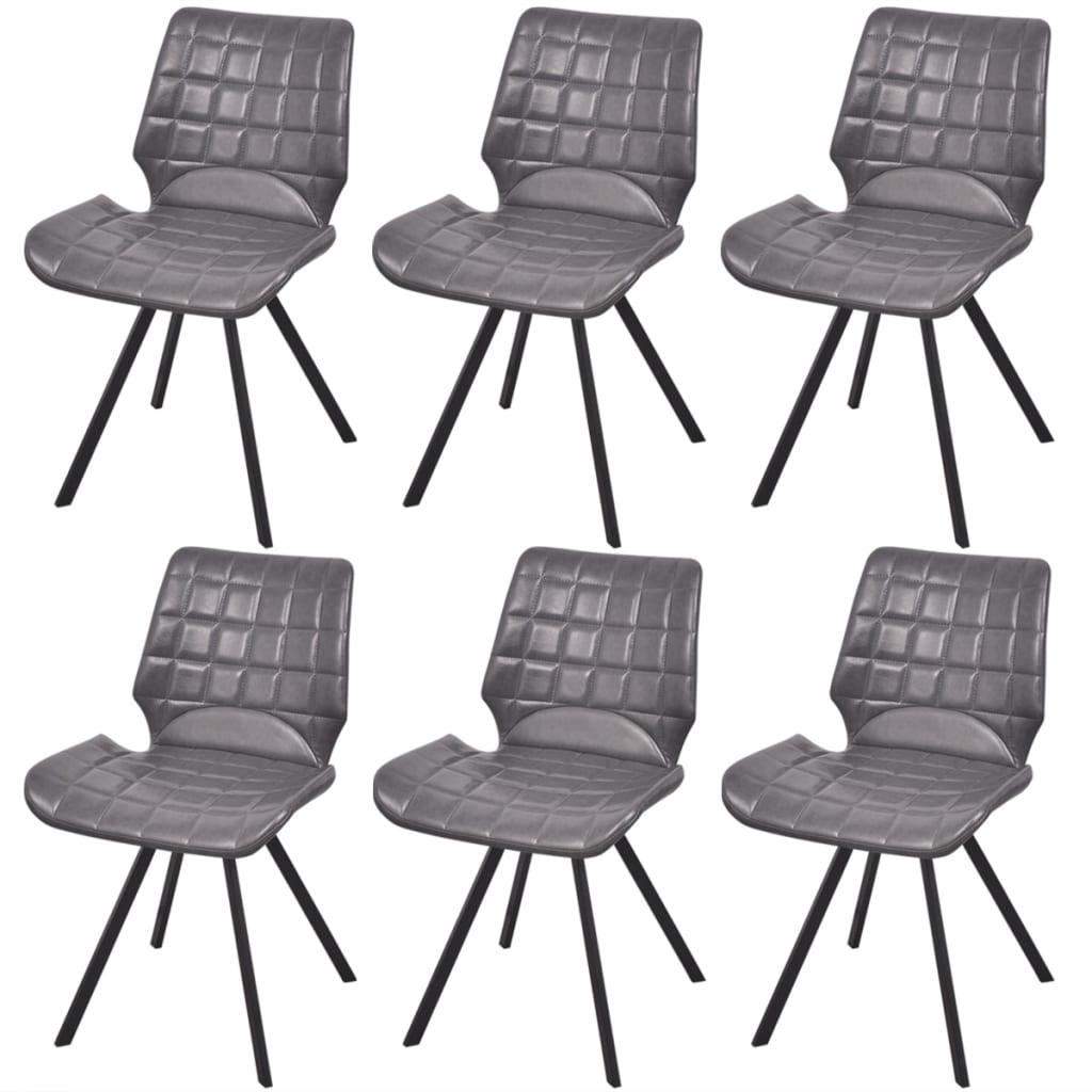 Vidaxl silla de comedor cuero sint tico 6 uds gris for Sillas cuero comedor