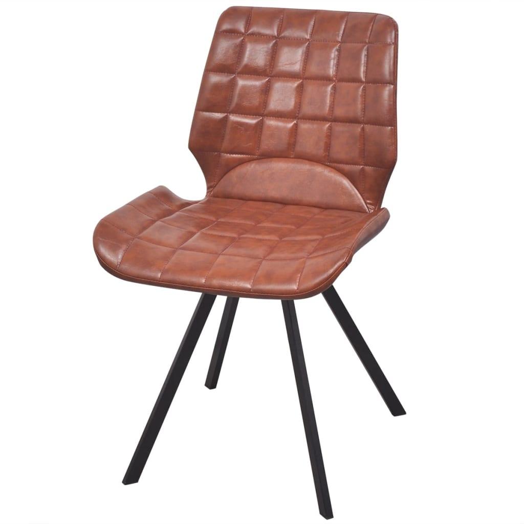 acheter vidaxl chaises de salle manger en cuir artificiel 6 pcs marron pas cher. Black Bedroom Furniture Sets. Home Design Ideas