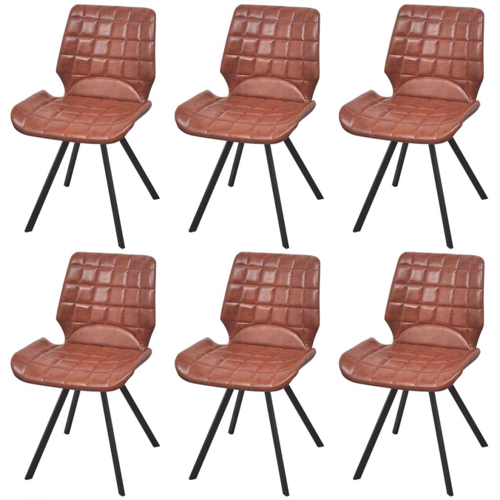 Vidaxl silla de comedor cuero sint tico 6 uds marr n for Sillas comedor cuero marron