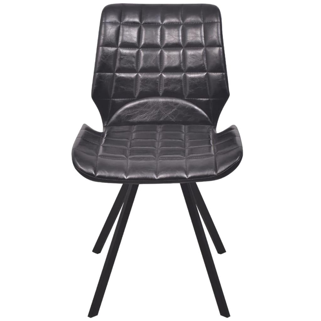 Vidaxl silla de comedor cuero sint tico 6 uds negro for Sillas cuero comedor