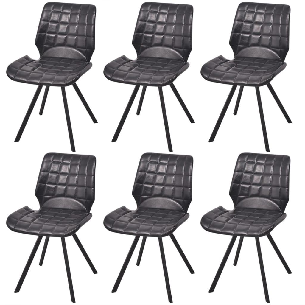 Vidaxl silla de comedor cuero sint tico 6 uds negro for Sillas de comedor de cuero