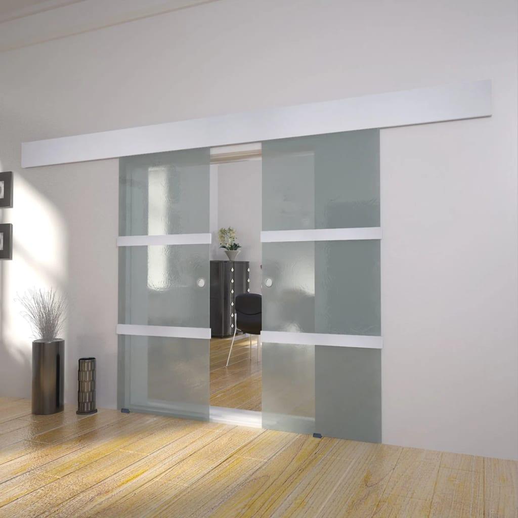 Double Sliding Doors Space Saving Modern Bright Translucent Glass