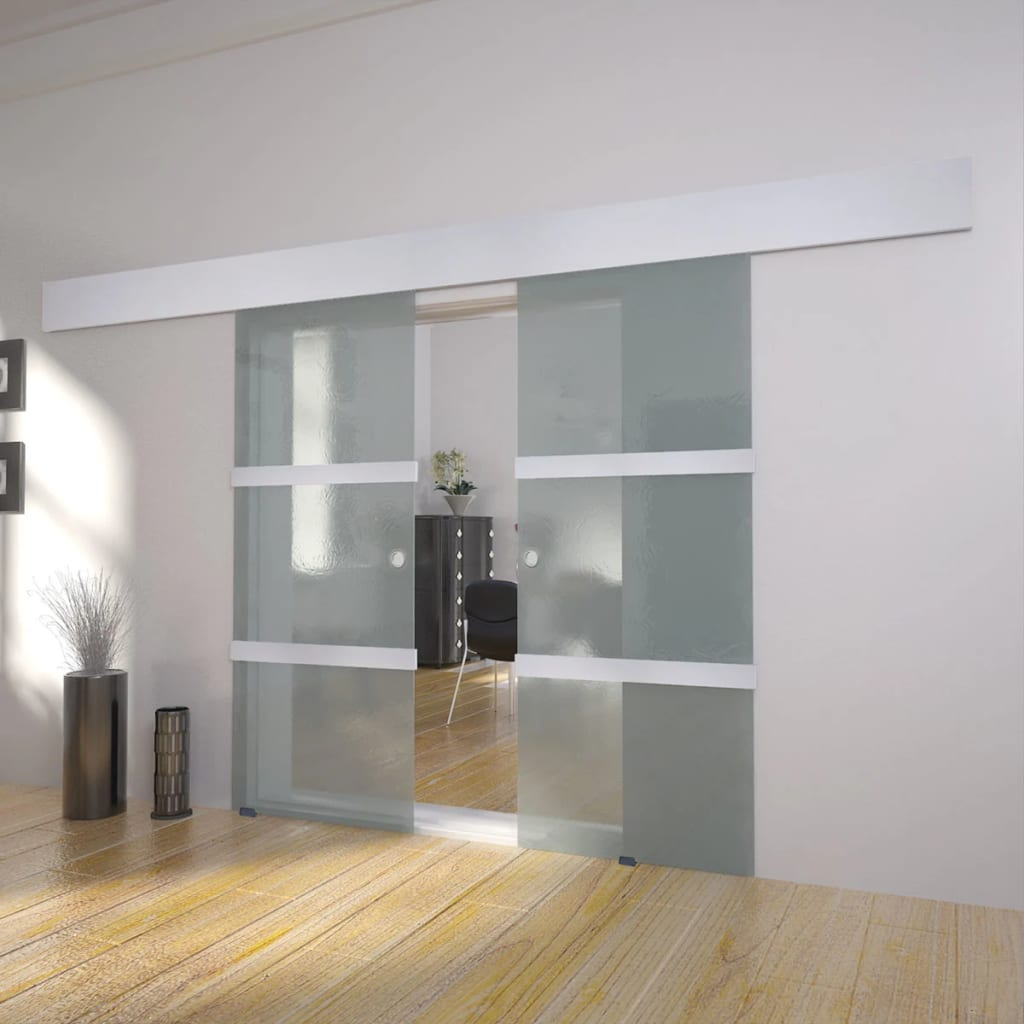 Vidaxl puerta modelo corredera tipo doble de cristal dimensiones 205 x 75 cm ebay - Puerta corredera doble ...