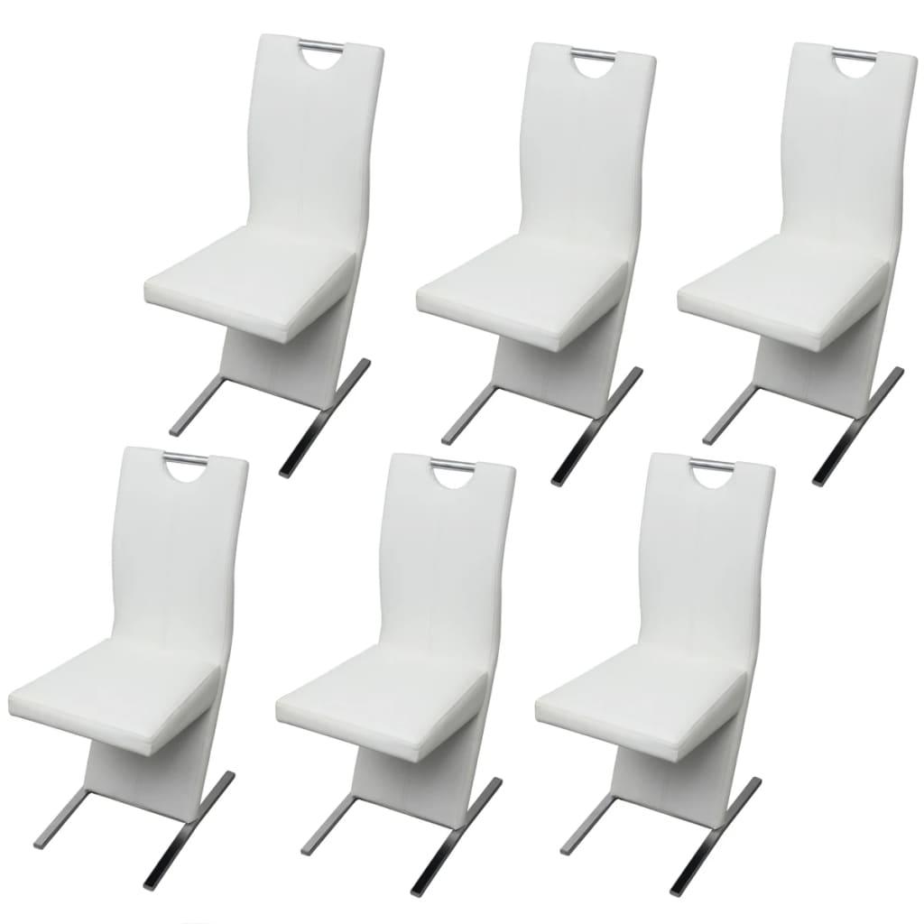 Vidaxl 6x sedie da pranzo in similpelle bianche cucina for Sedie bianche da cucina