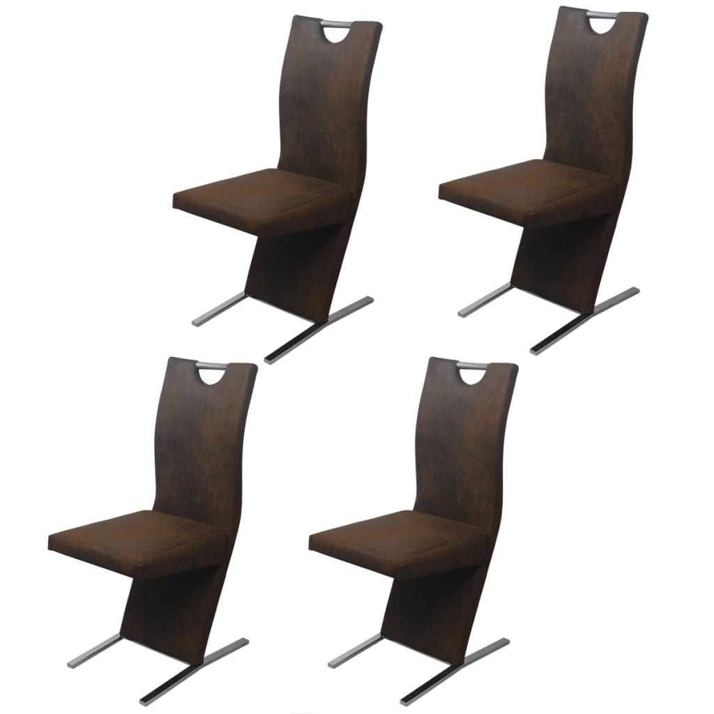 vidaXL Krzesła jadalniane brązowe pokrycie, 4 sztuki