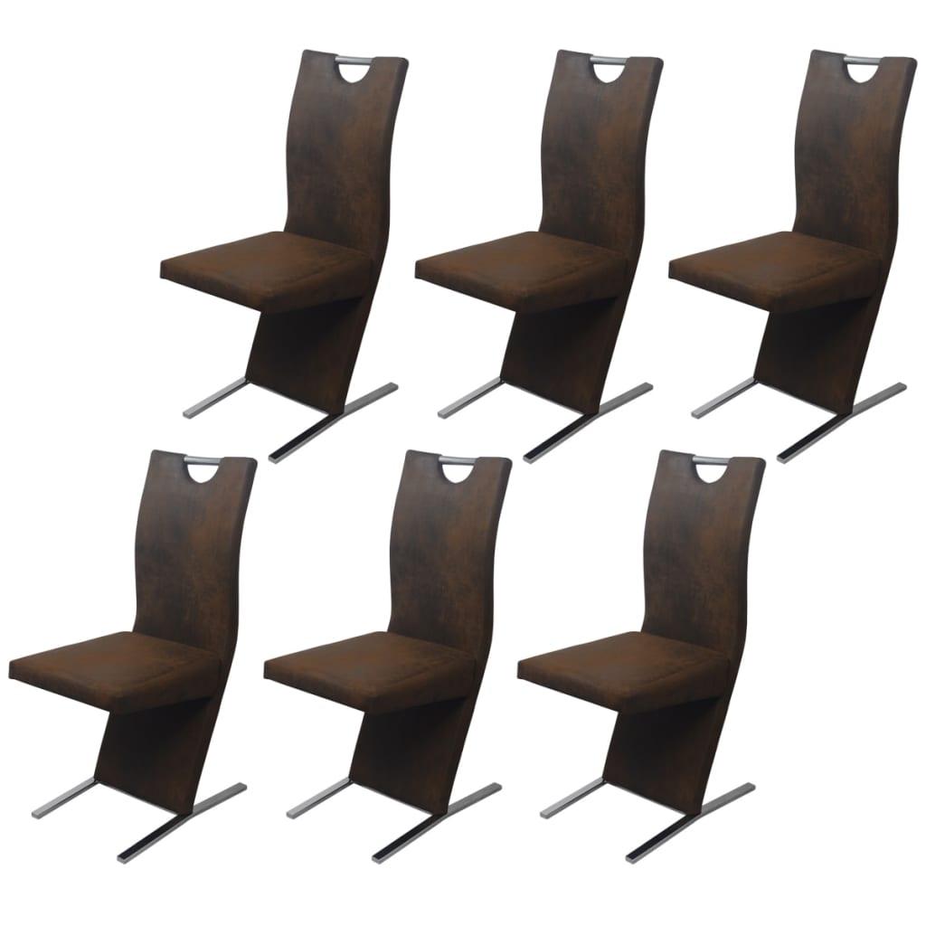 vidaXL Krzesła jadalniane brązowe pokrycie 6 sztuk