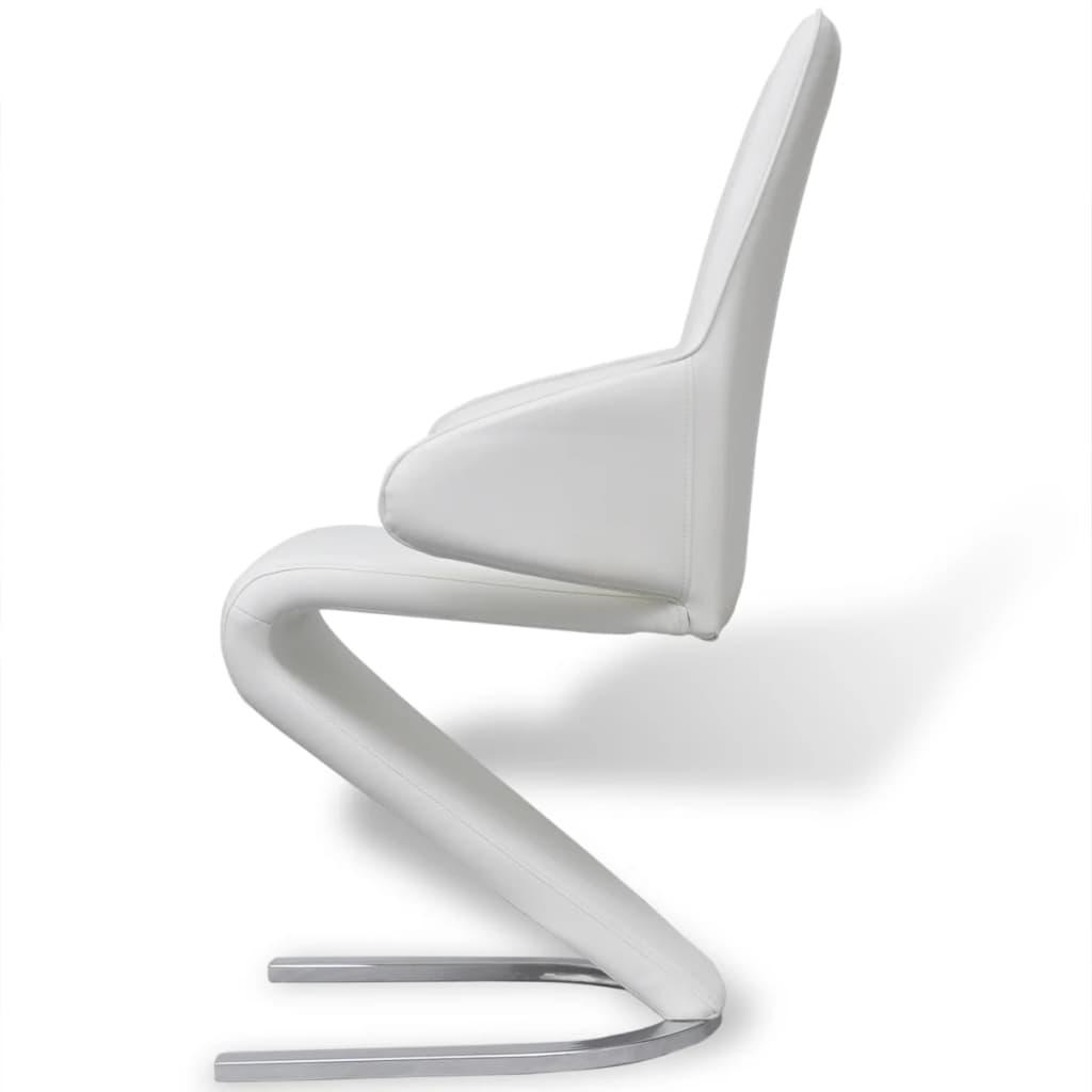 Vidax 4 pz sedie a sbalzo sala da pranzo in pelle for Sedie pelle bianca