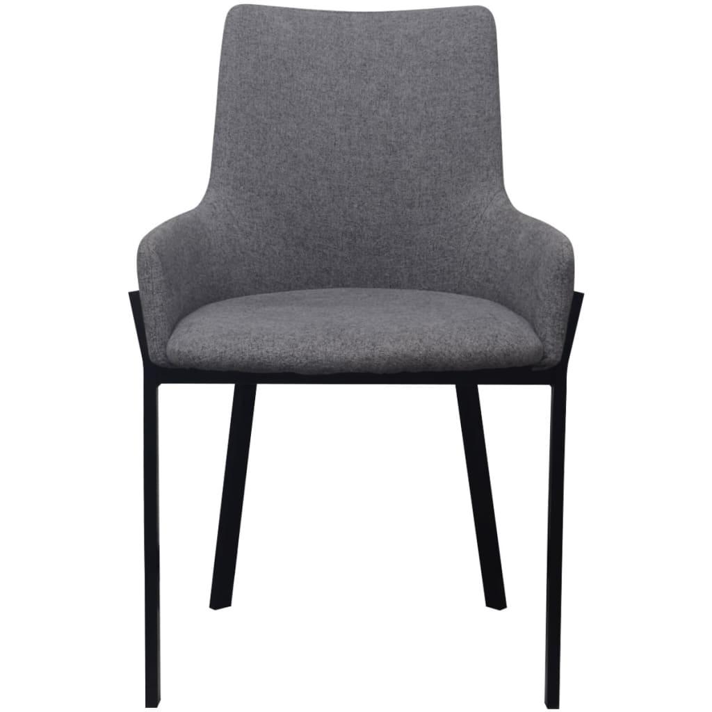 Vidaxl sillas de comedor 4 uds tela gris claro for Sillas de tela comedor