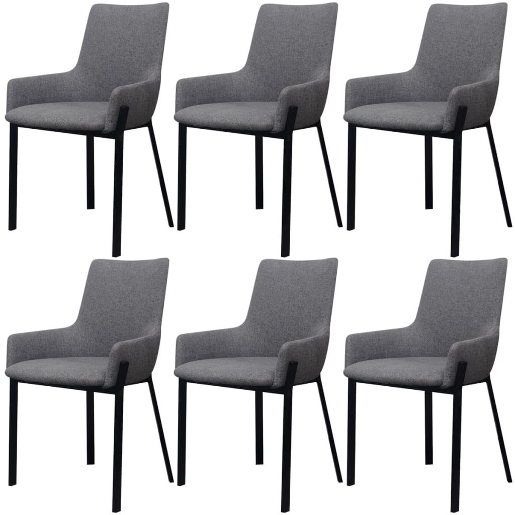 Vidaxl sillas de comedor 6 uds tela gris claro for Sillas de tela comedor