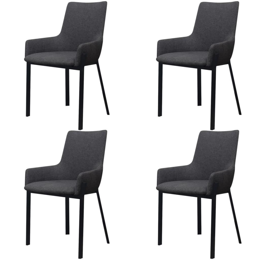 Vidaxl sillas de comedor 4 uds tela gris oscuro for Sillas de tela comedor