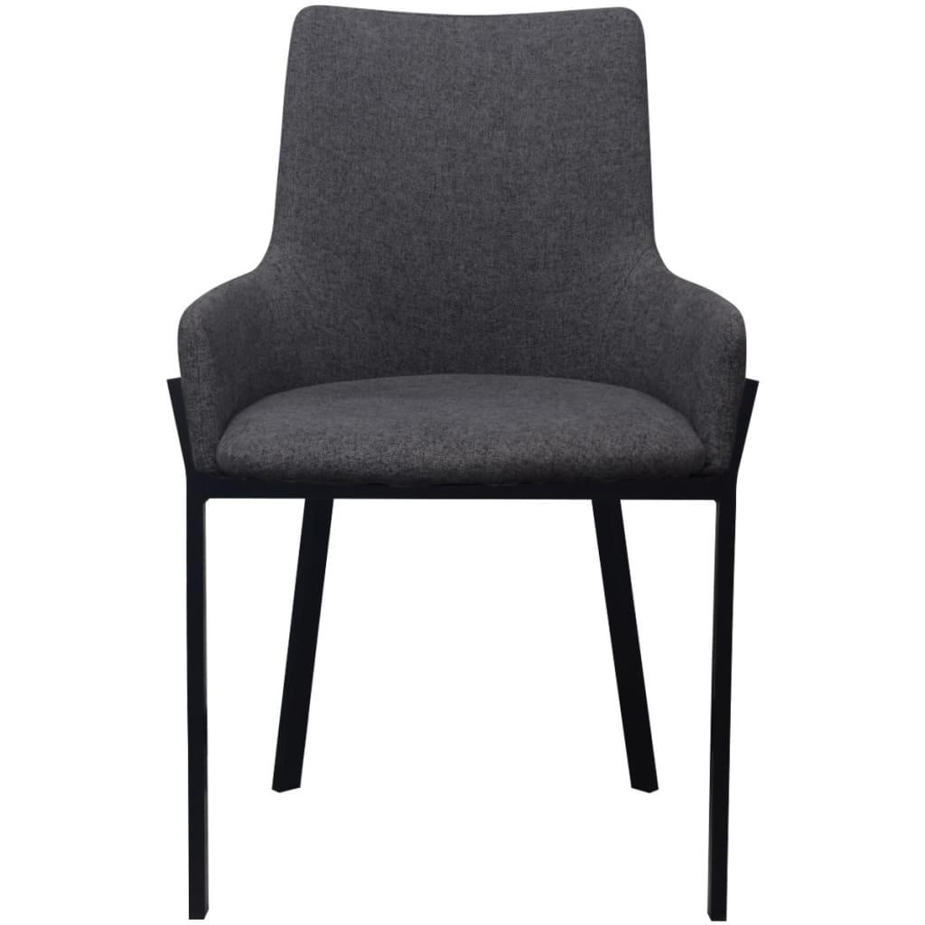 Vidaxl sillas de comedor 6 uds tela gris oscuro for Sillas de tela comedor