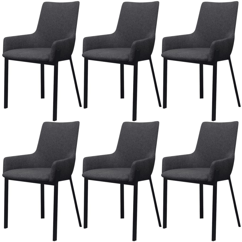 vidaXL Krzesła jadalniane ciemnoszare 6 sztuk