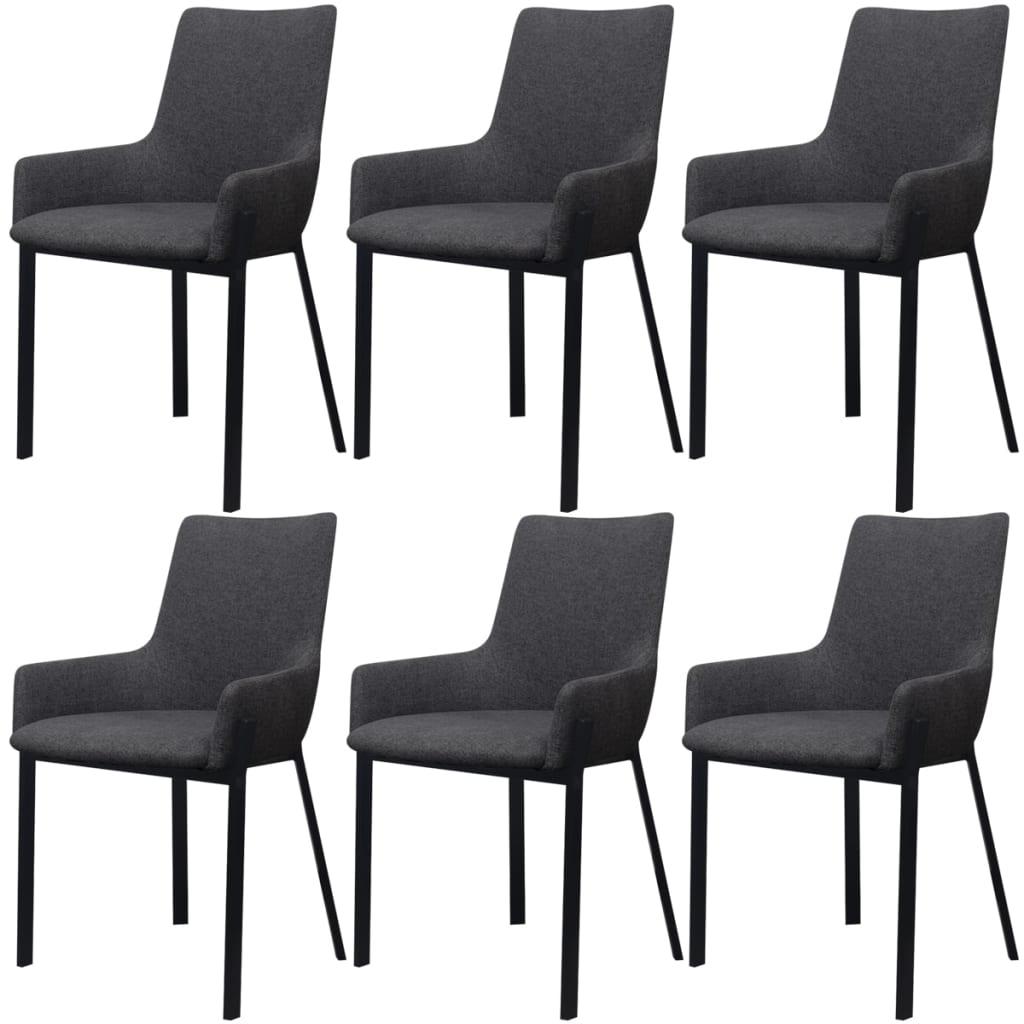 Acheter vidaxl chaises de salle manger 6 pcs gris fonc for Salle a manger en solde