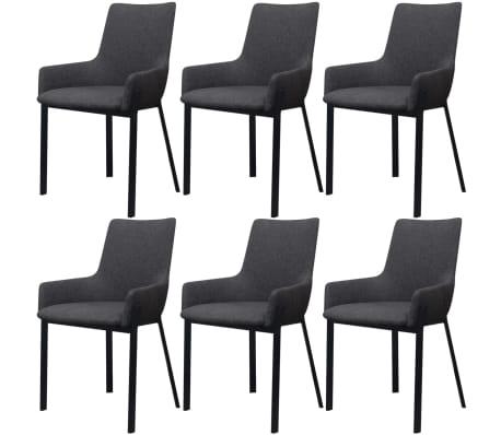acheter vidaxl chaises de salle manger 6 pcs gris fonc. Black Bedroom Furniture Sets. Home Design Ideas