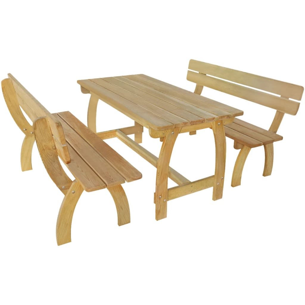vidaXL Zestaw mebli ogrodowych, 3 części, impregnowane drewno sosnowe