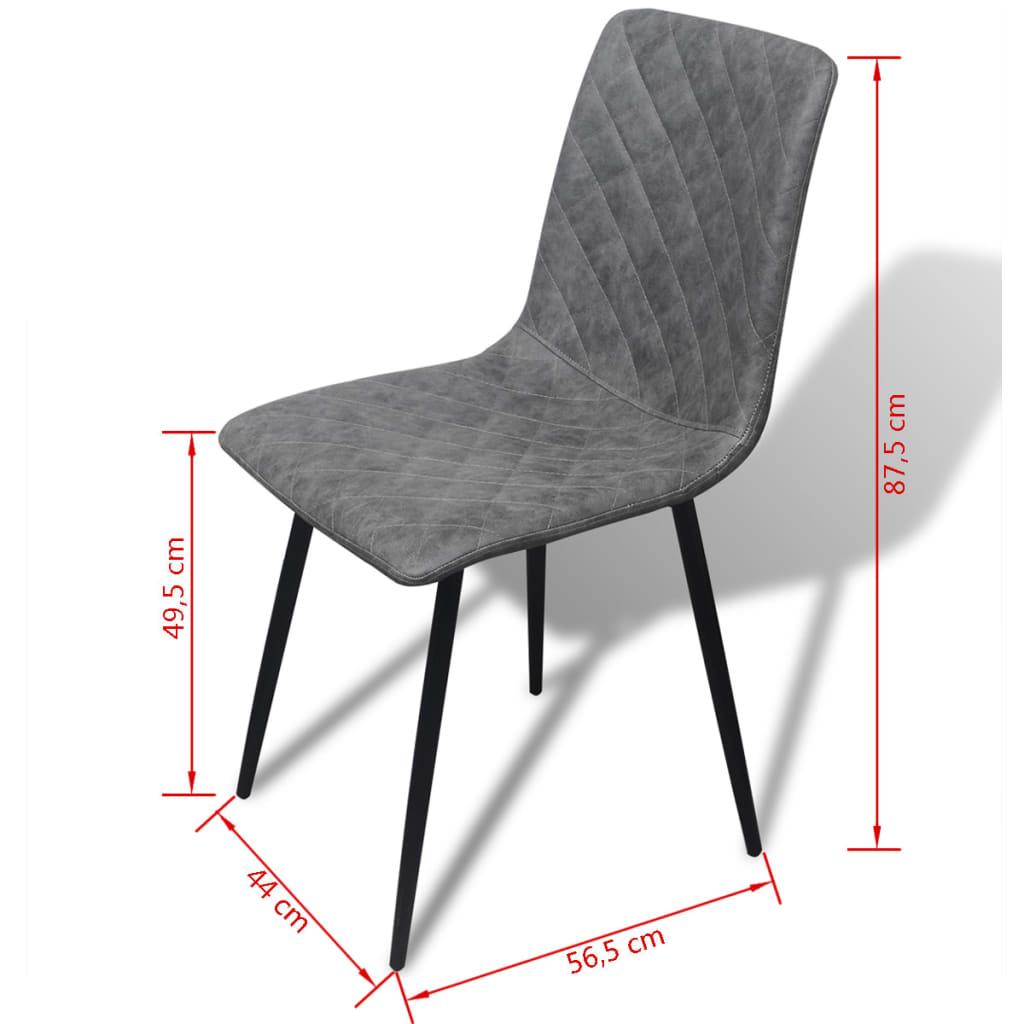 Vidaxl sillas de comedor 6 uds cuero sint tico gris for Sillas de comedor de cuero