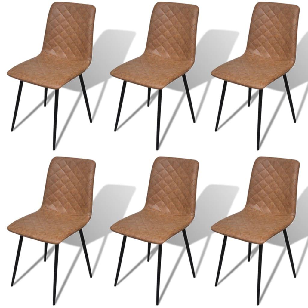 Vidaxl sillas de comedor 6 piezas cuero sint tico de alta for Sillas comedor cuero marron