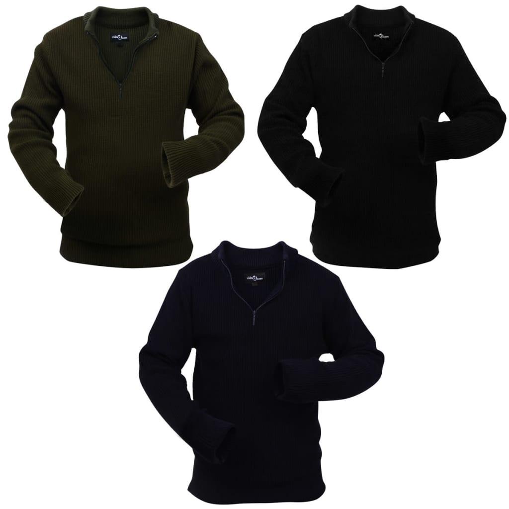 vidaXL 3 db tengerész/katona zöld/fekete M méretű pulóver