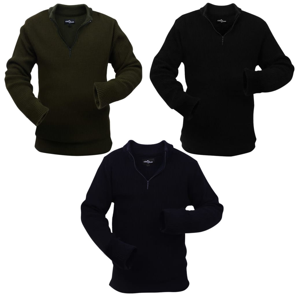 vidaXL 3 db Férfi tengerész/katona Zöld/Fekete L Méretű pulóvered