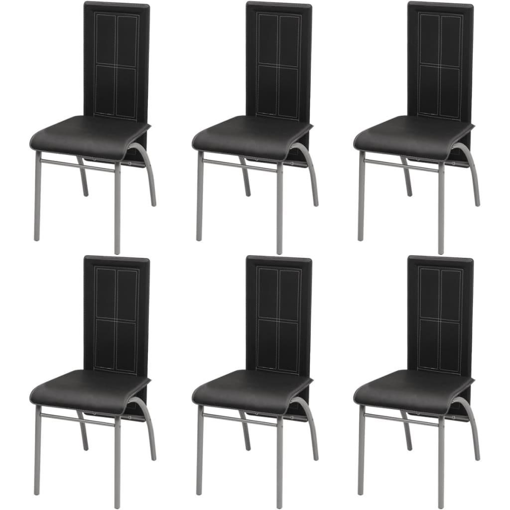 vidaXL 6 darab étkező szék fekete