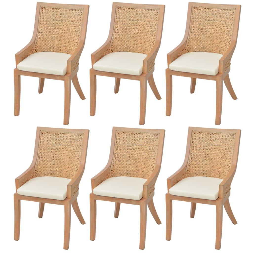 vidaXL Krzesła jadalniane rattanowe 6 szt.