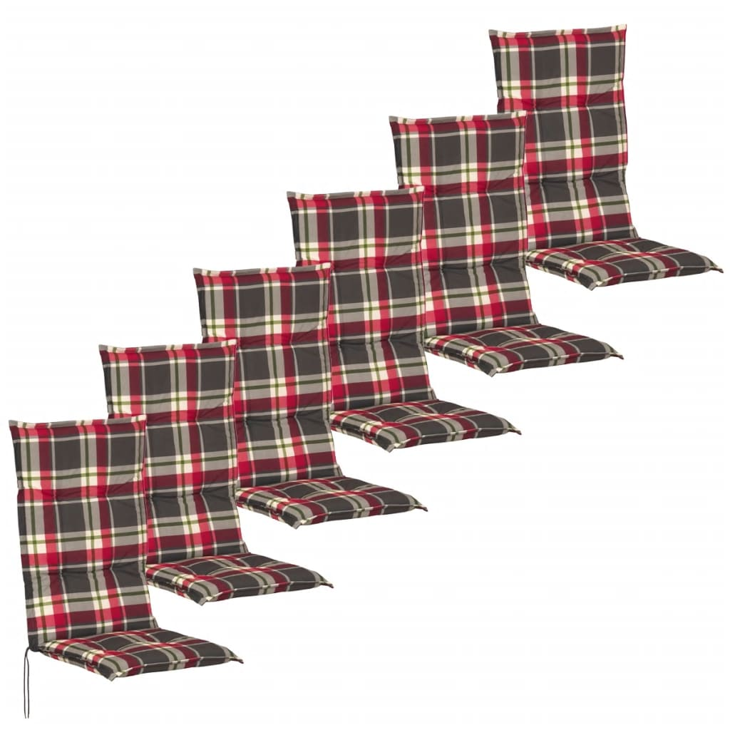 vidaXL 6 db 117x49 cm piros és zöld kerti szék ülőpárna