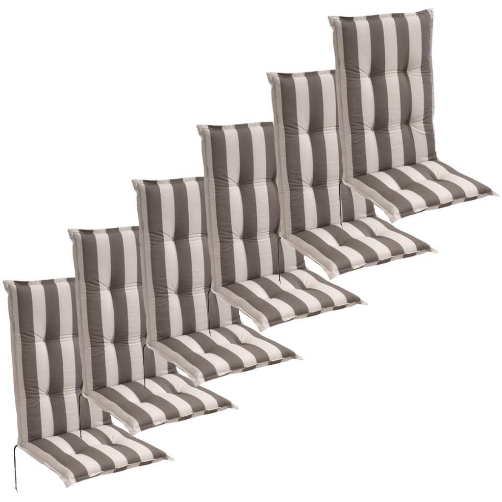 vidaXL 6 db 120x52 cm szürke csíkos kerti szék üléspárna