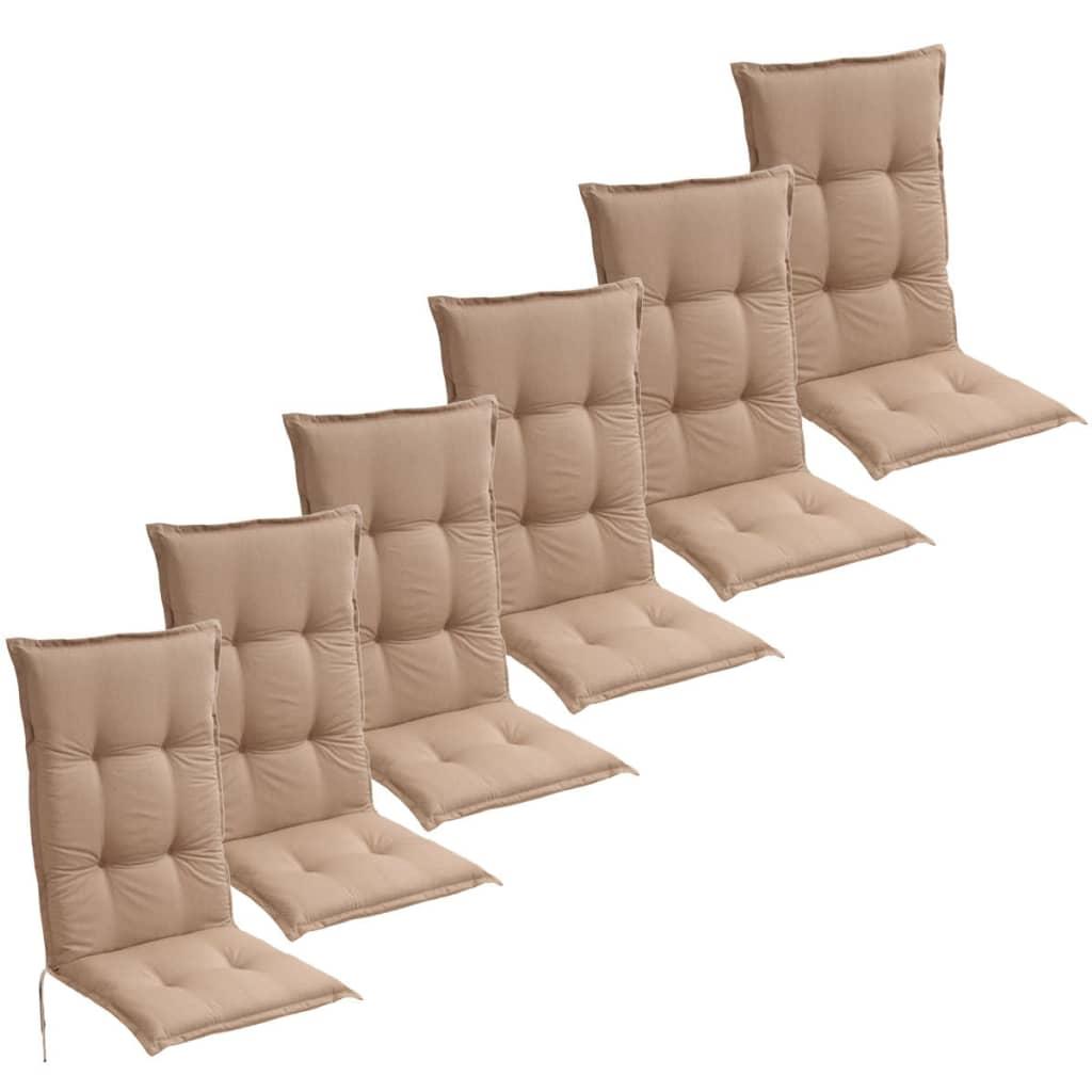 vidaXL 6 db barna 120x52 cm kerti szék ülőpárna
