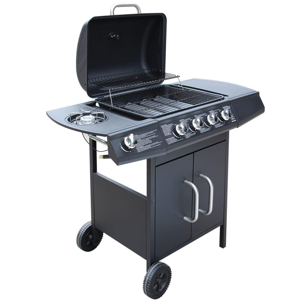 vidaXL gáz grillsütő 4+1 gázrózsával fekete