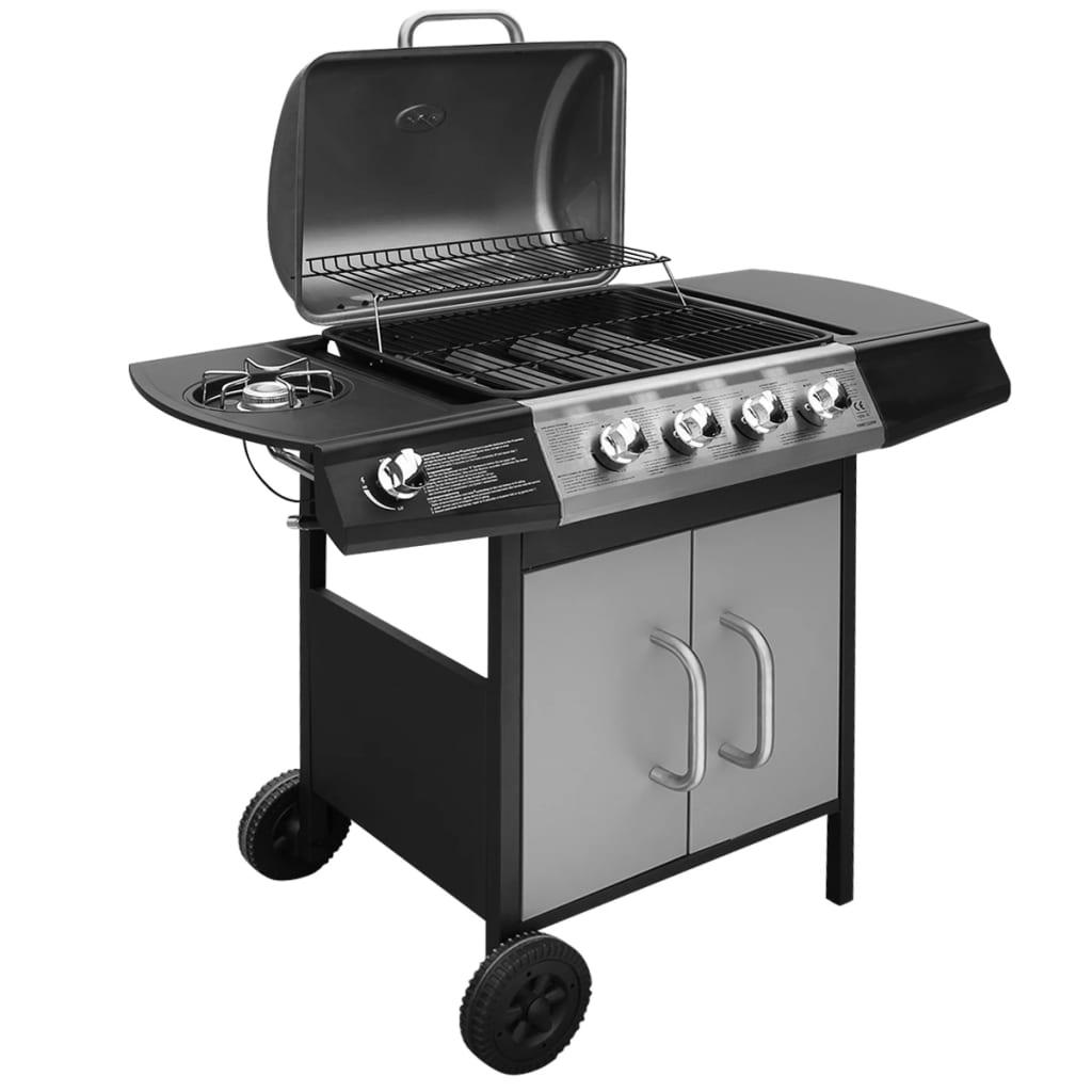 vidaXL gáz grillsütő 4+1 gázrózsával fekete és ezüst