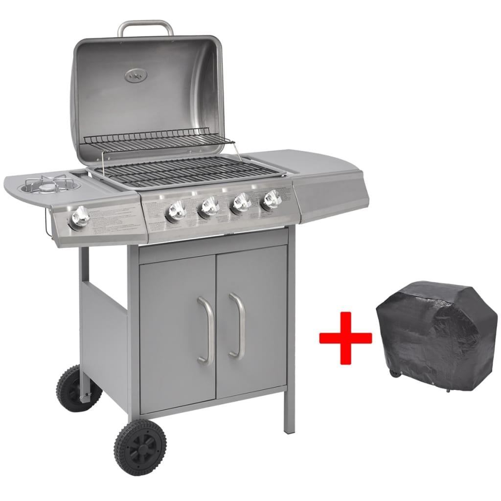 vidaXL gáz grillsütő 4+1 gázrózsával ezüst