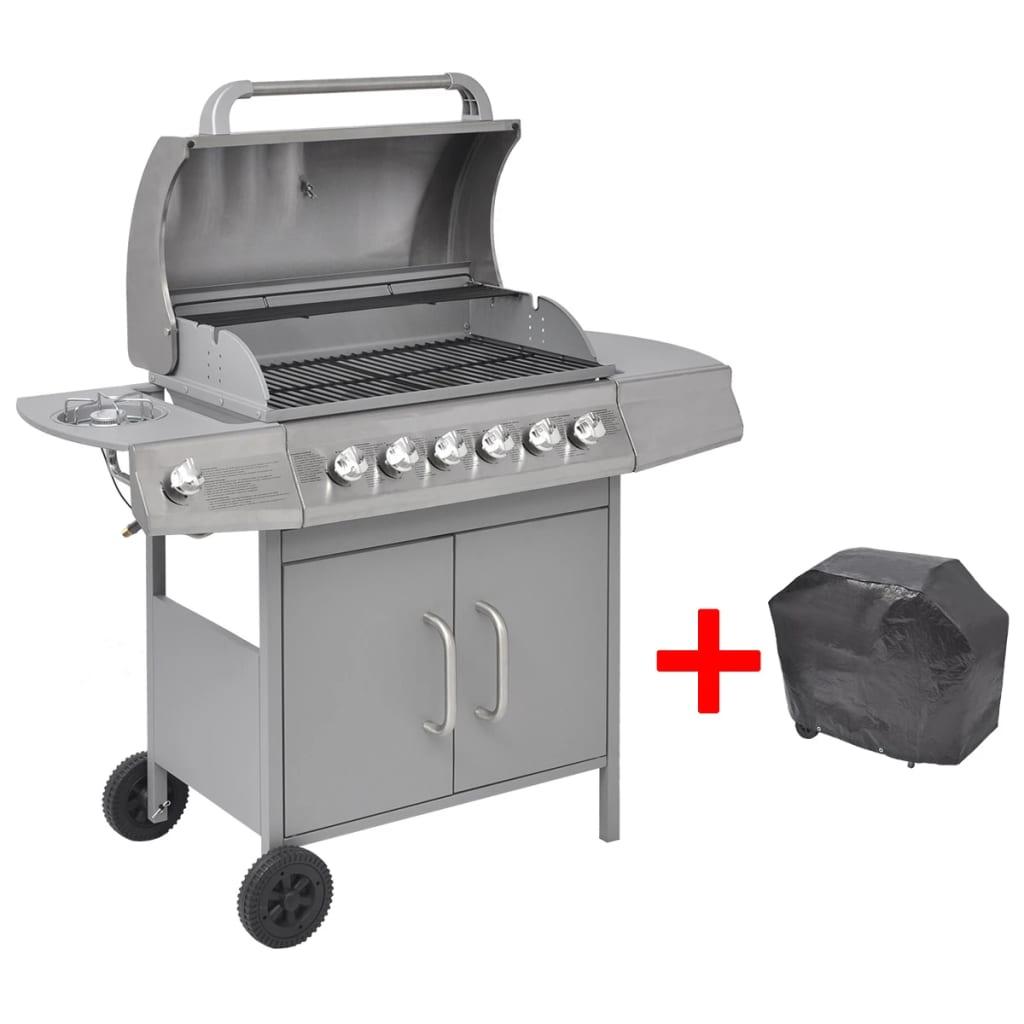 vidaXL gáz grillsütő 6+1 gázrózsával ezüst szín