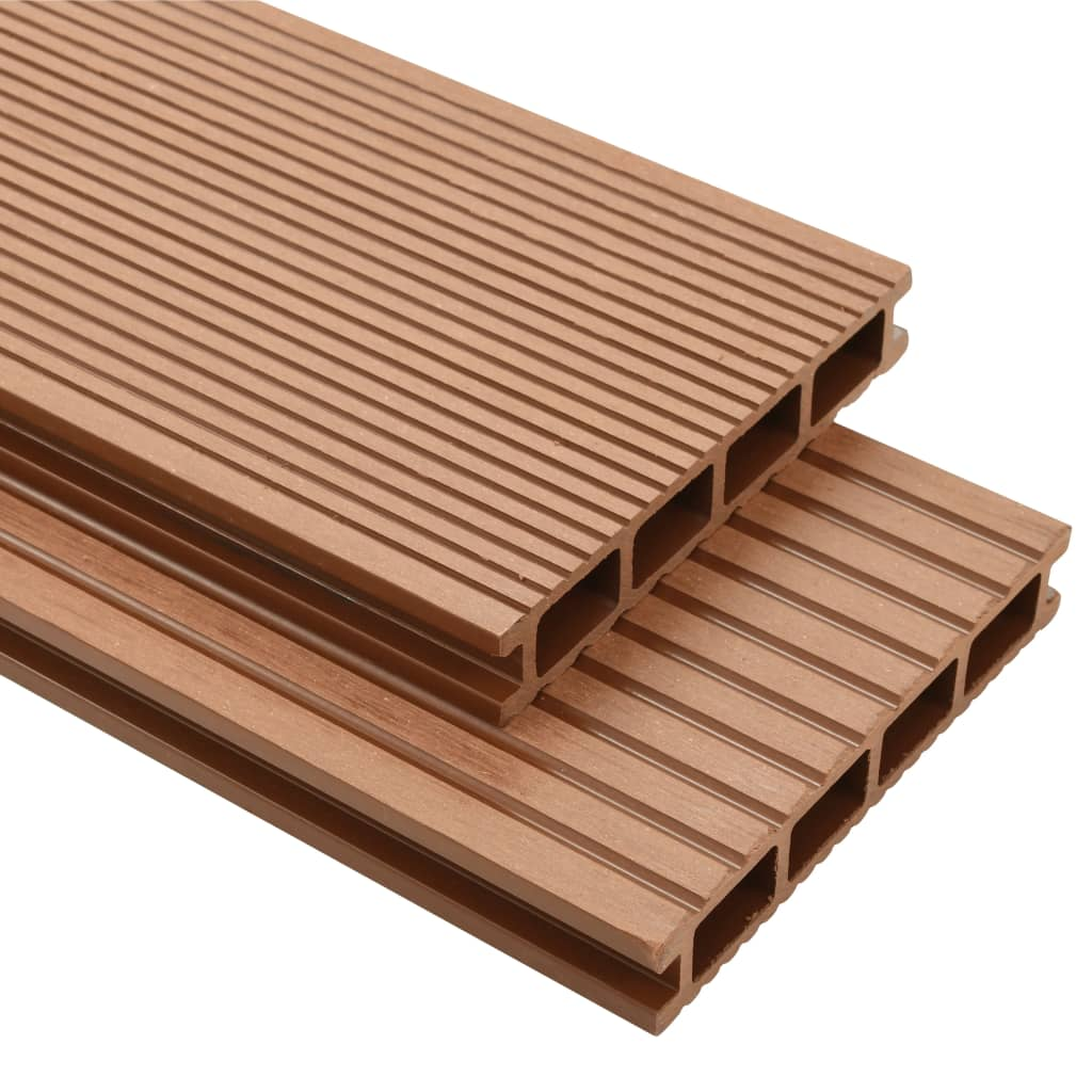 Vidaxl wpc decking boards with accessories 20 m brown for Wpc decking
