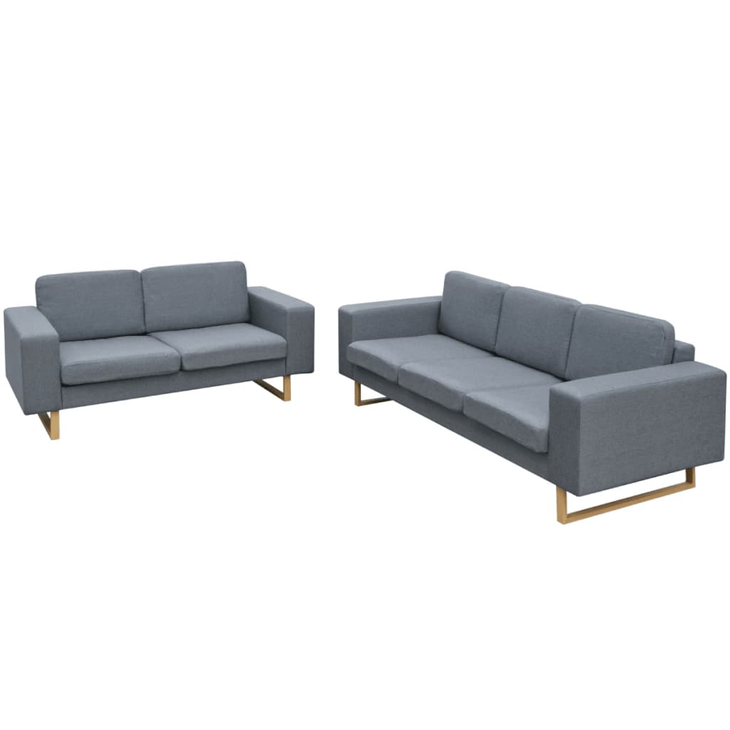 der vidaxl 2 sitzer und 3 sitzer sofa set hellgrau online. Black Bedroom Furniture Sets. Home Design Ideas