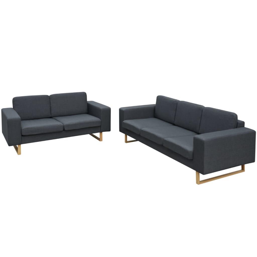 vidaXL 2 és 3 személyes sötét szürke kanapé szett