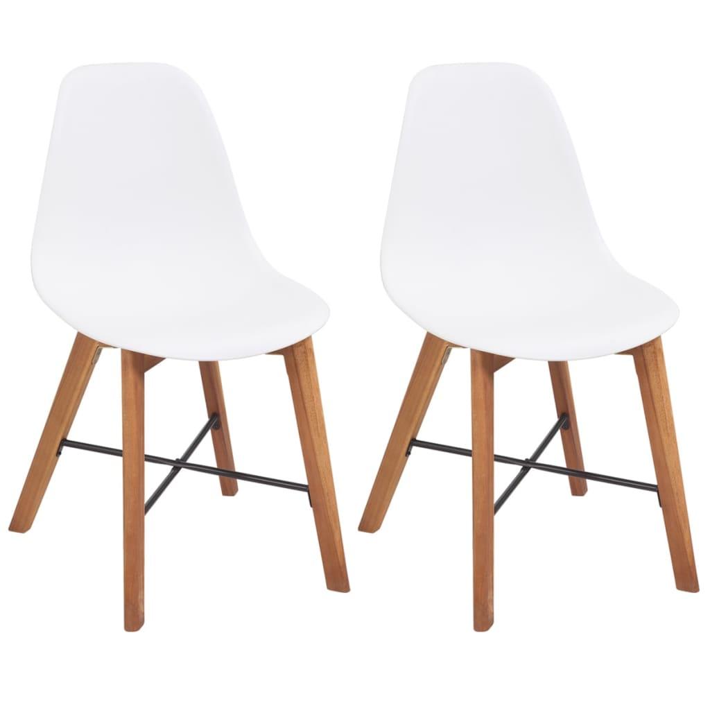 Vidaxl sedie da pranzo in legno di acacia 2 pz bianche for Sedie bianche sala da pranzo