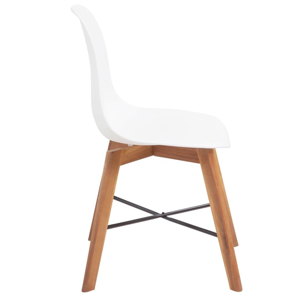 Vidaxl sillas de comedor de madera de acacia 4 uds blancas for Sillas de cocina blancas de madera