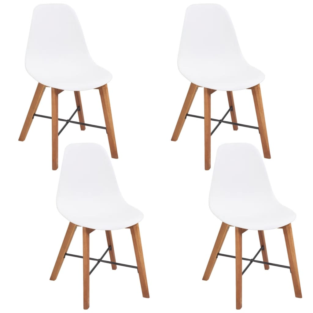 vidaXL 4 db fehér étkező akácfa szék