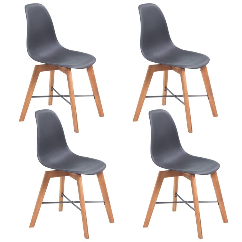vidaXL 4 db fekete étkező akácfa szék