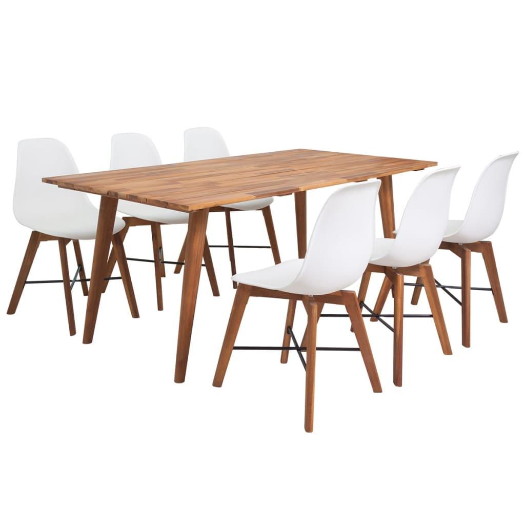 Acheter vidaxl jeu de salle manger 7 pi ces en bois d 39 acacia massif blanc pas cher for Salle a manger en solde