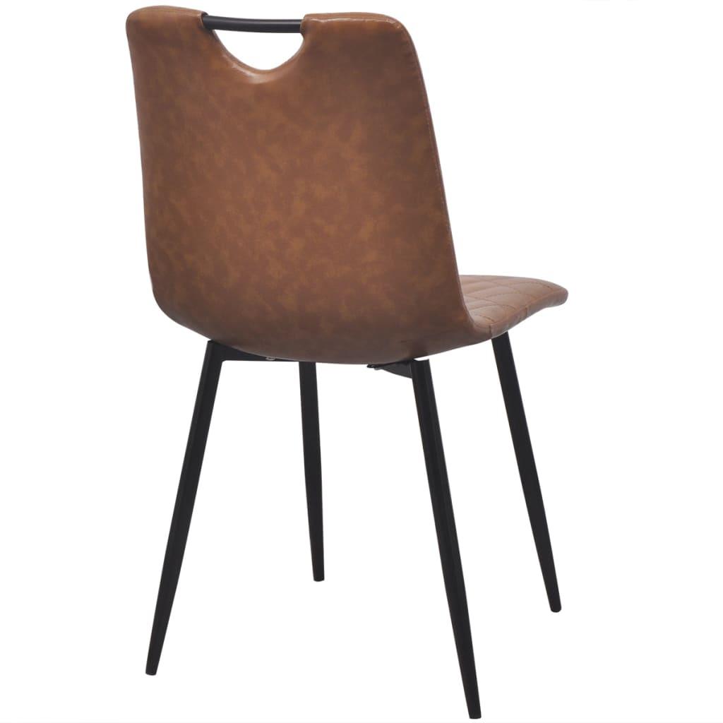 Vidaxl sillas de comedor de cuero artificial 6 unidades for Sillas comedor marron chocolate