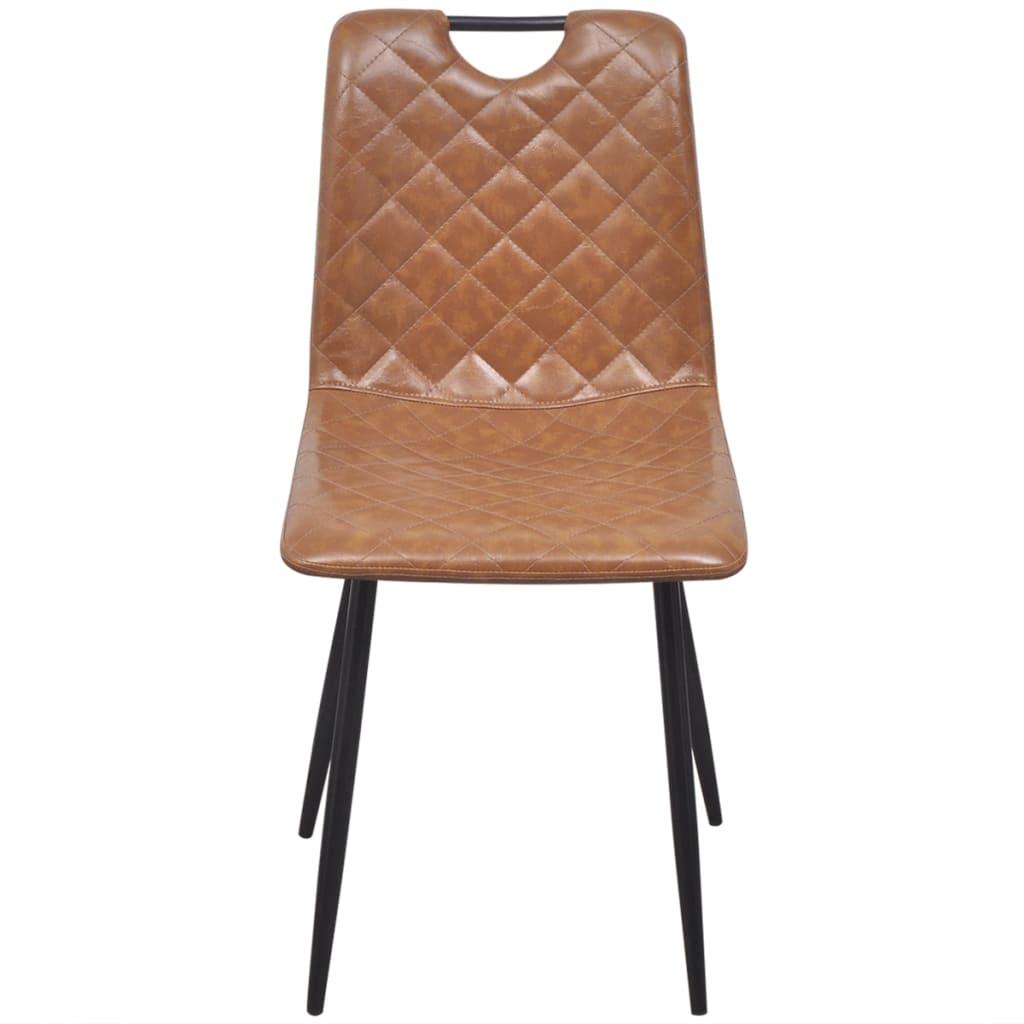vidaxl esszimmerst hle 6 stk kunstleder hellbraun g nstig kaufen. Black Bedroom Furniture Sets. Home Design Ideas