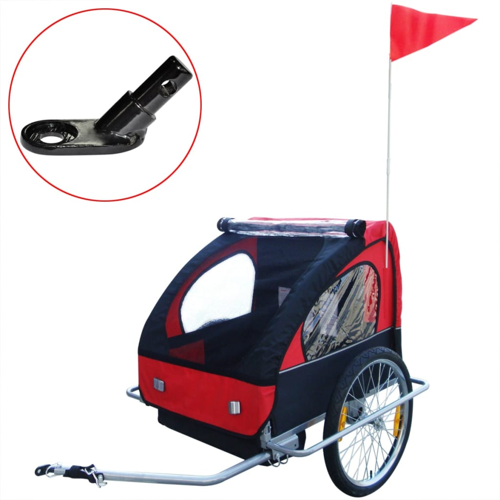 #Kids Children Foldable Bike Bicycle Trailer with Extra Connector Red 36 kg