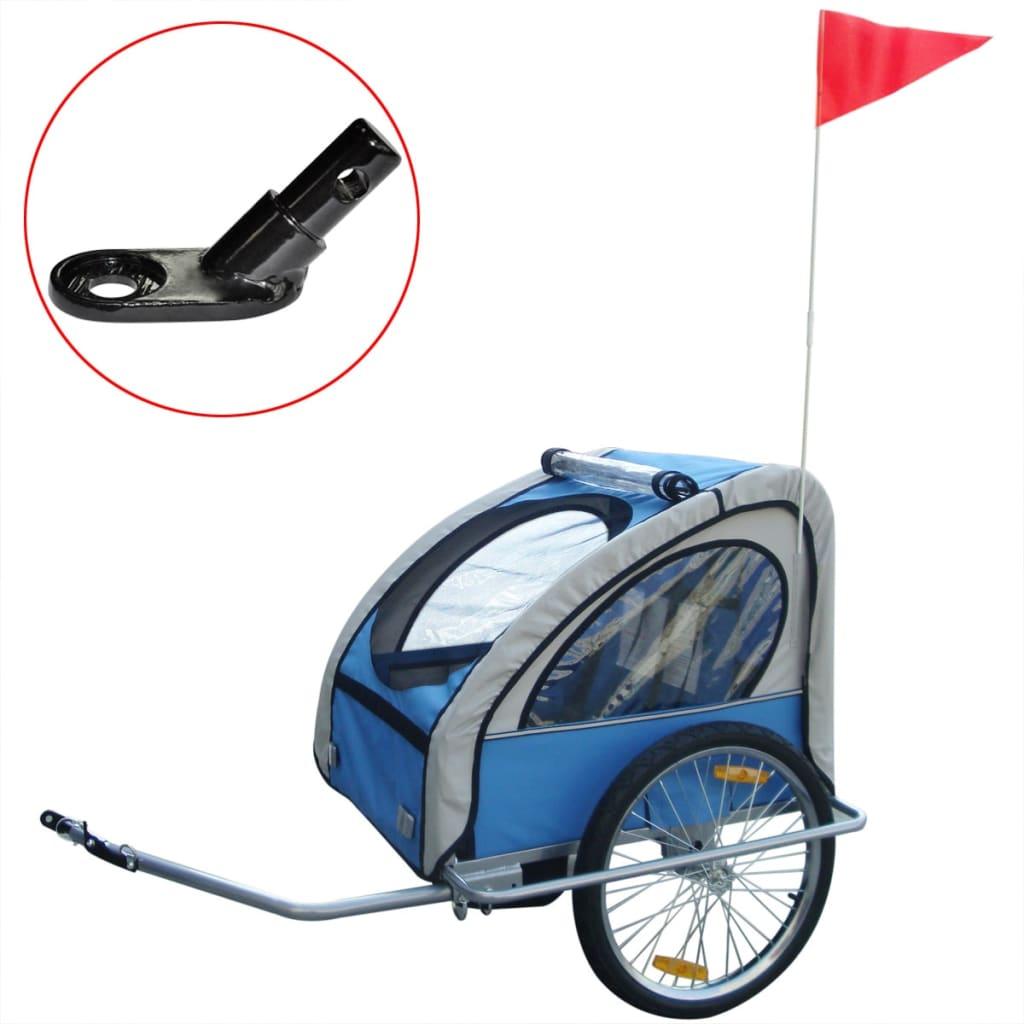 vidaXL 36 kg kék gyerek kerékpár utánfutó extra csatlakozóval