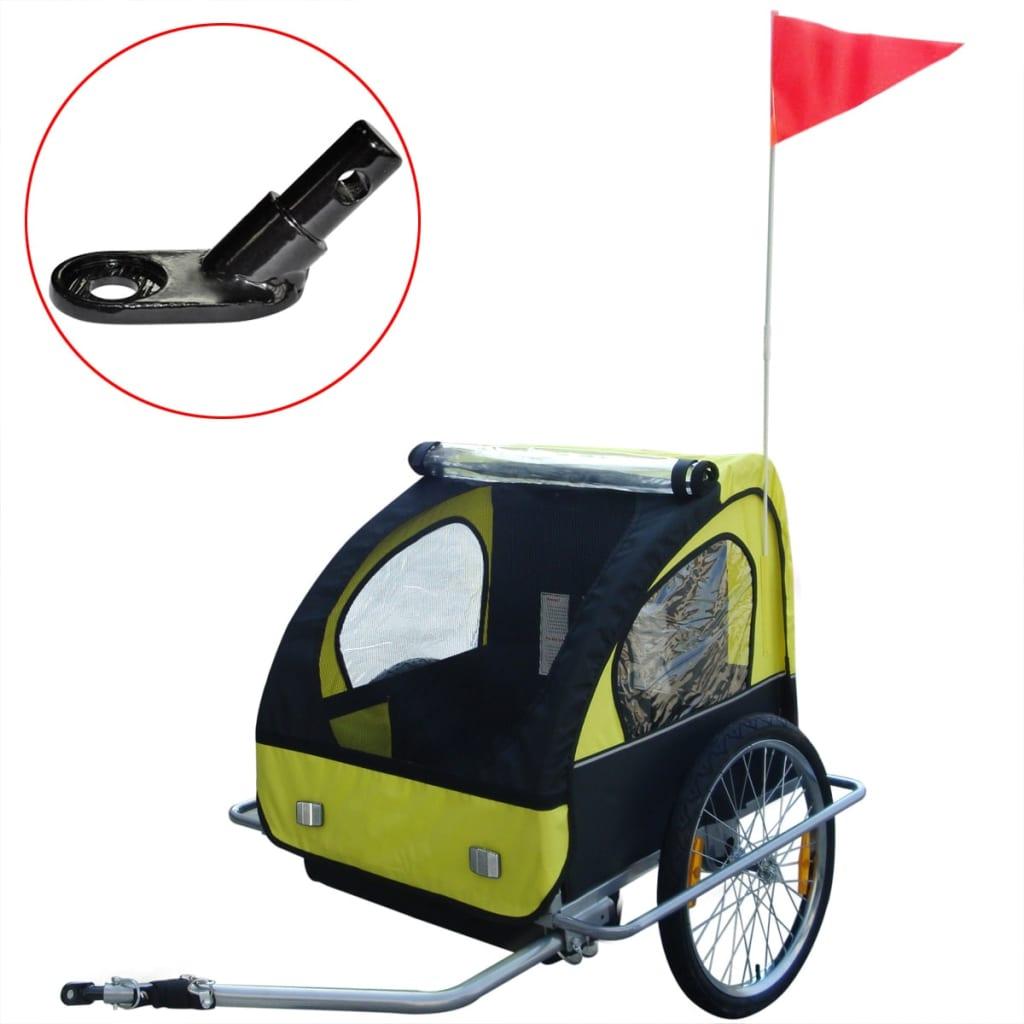 vidaXL 36 kg gyerek kerékpár utánfutó extra sárga csatlakozóval
